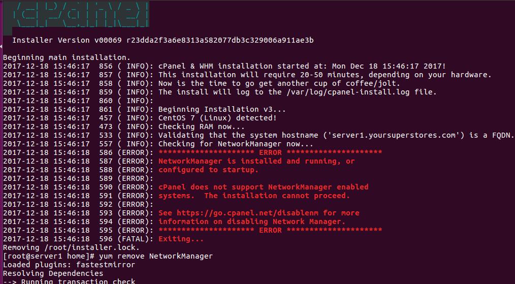 Cpanel NetworkManager error