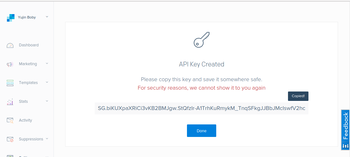 sendgrid api key created