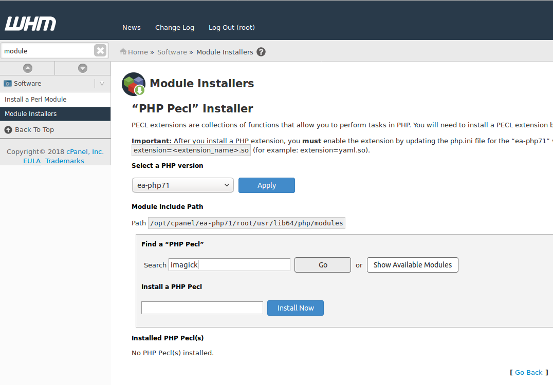 Cpanel PHP Pecl Installer