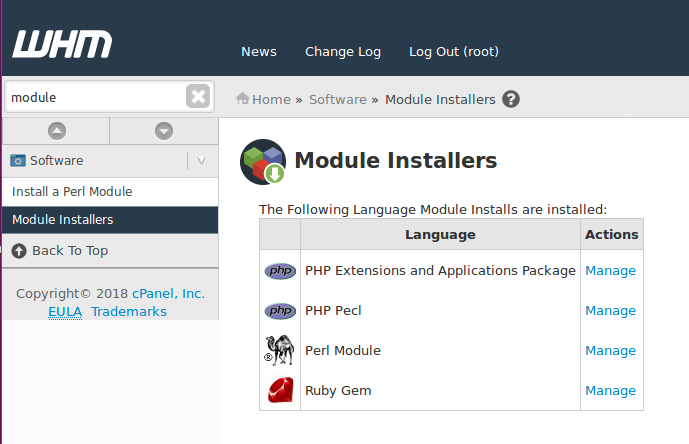 WHM Software Module Installers