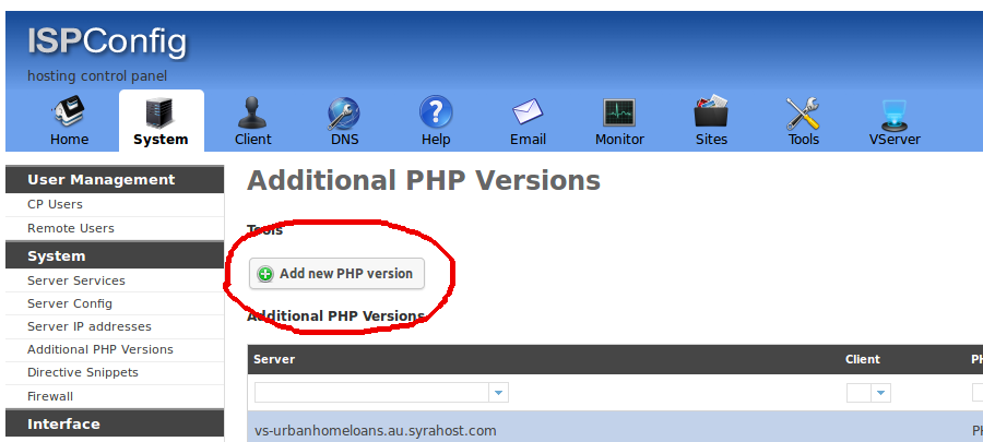 ISPConfig Add New PHP Version