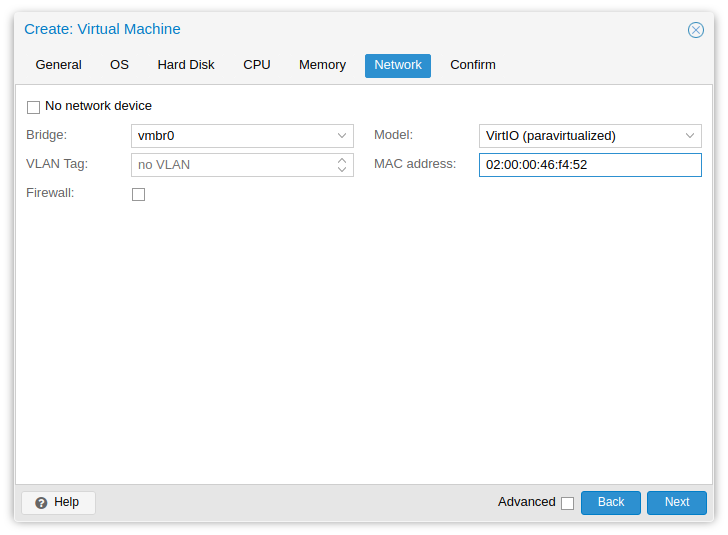 Proxmox create virtual machine