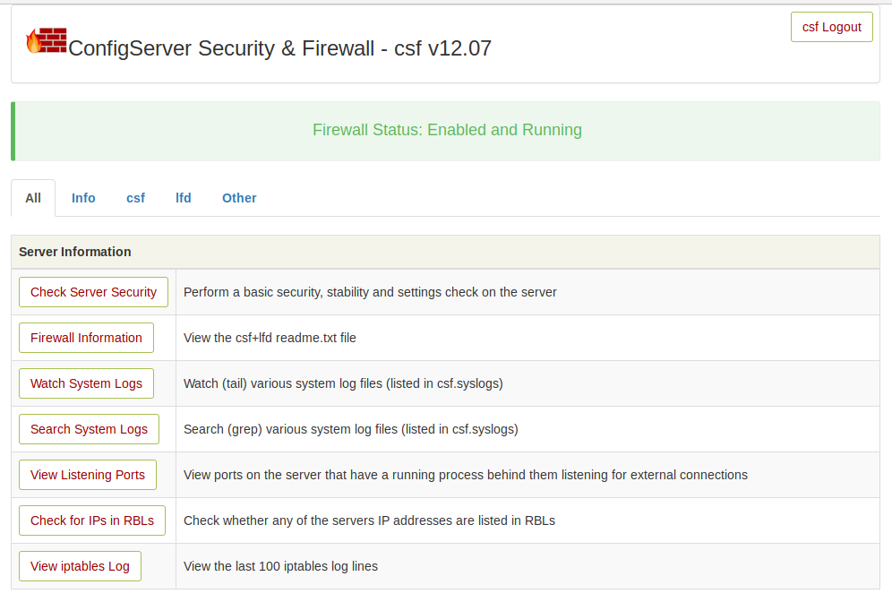 CSF Firewall UI