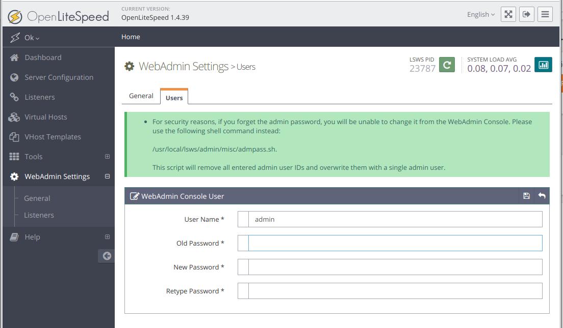 OpenLiteSpeed Change Admin Password