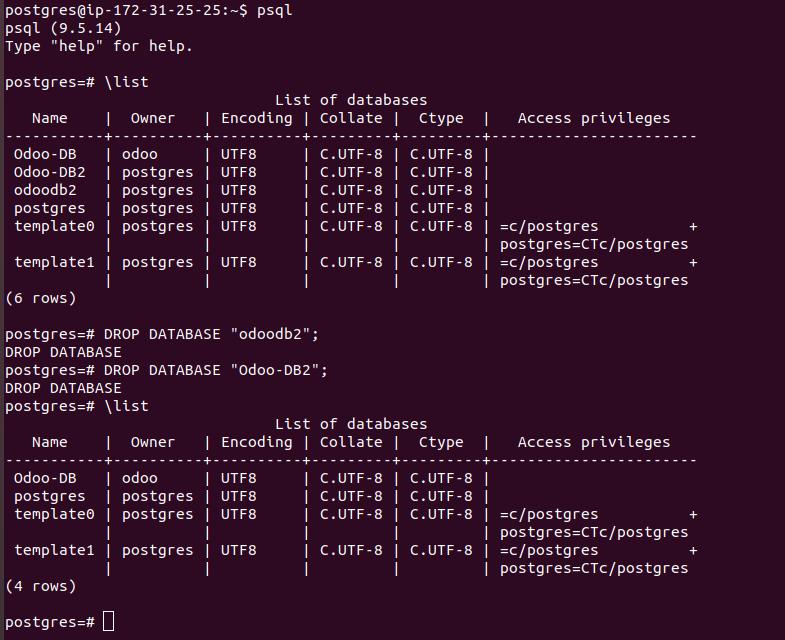 PostgreSQL drop database