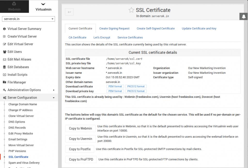 Virtualmin SSL Install