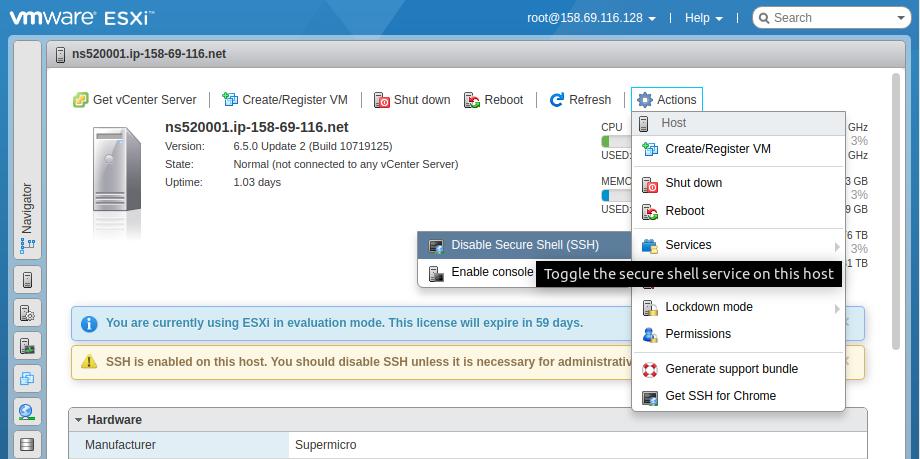 VMware ESXi SSH