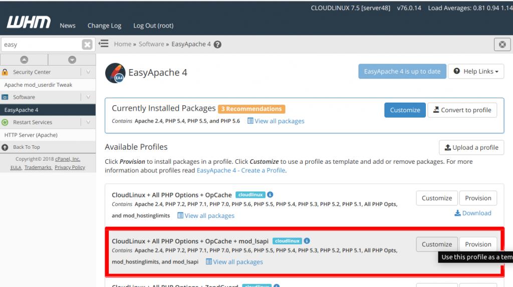 CloudLinux lasapi php
