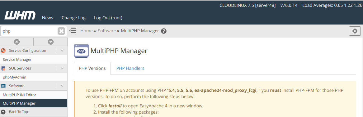 WHM Multi PHP Manager