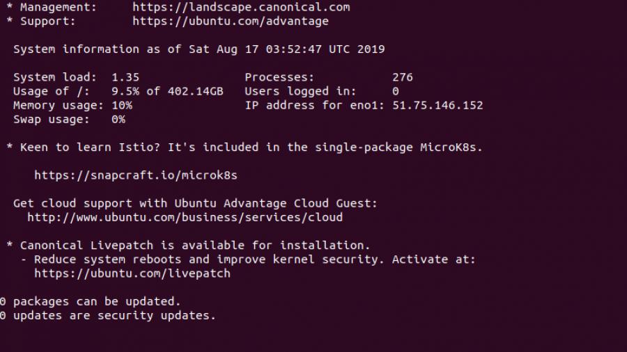 Ubuntu welcome message