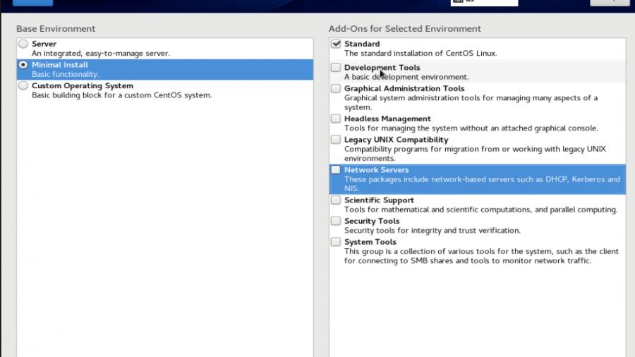 CentOS 8 software selection