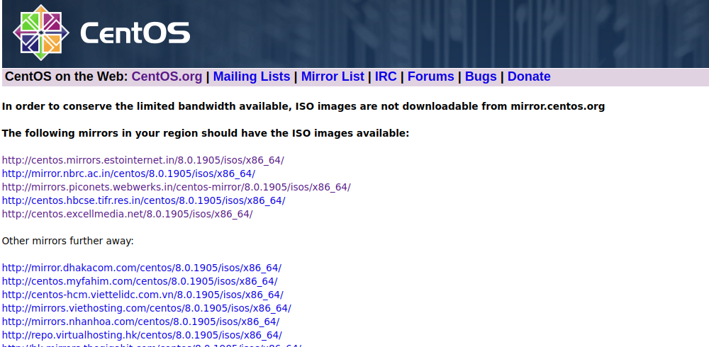 CentOS download mirror