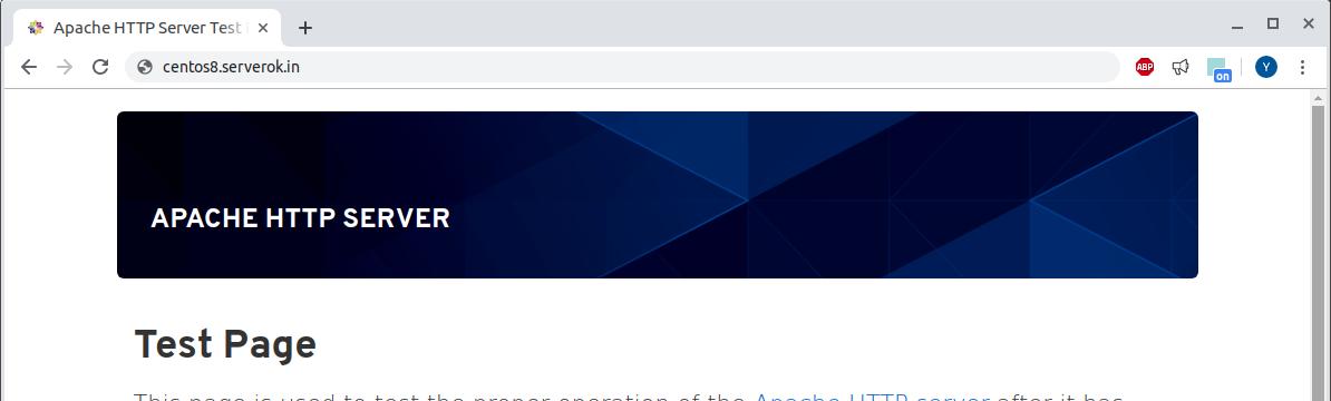 CentOS 8 Apache Default page