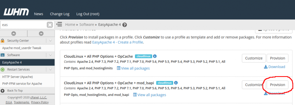WHM EasyApache 4 PHP missing