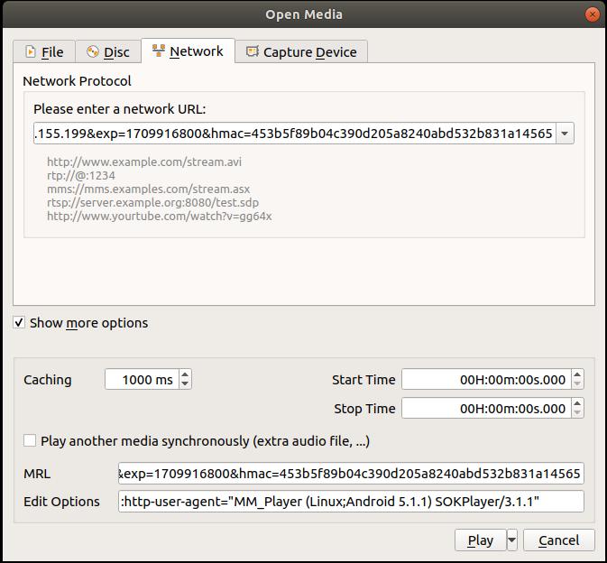 VLC Custom User Agent