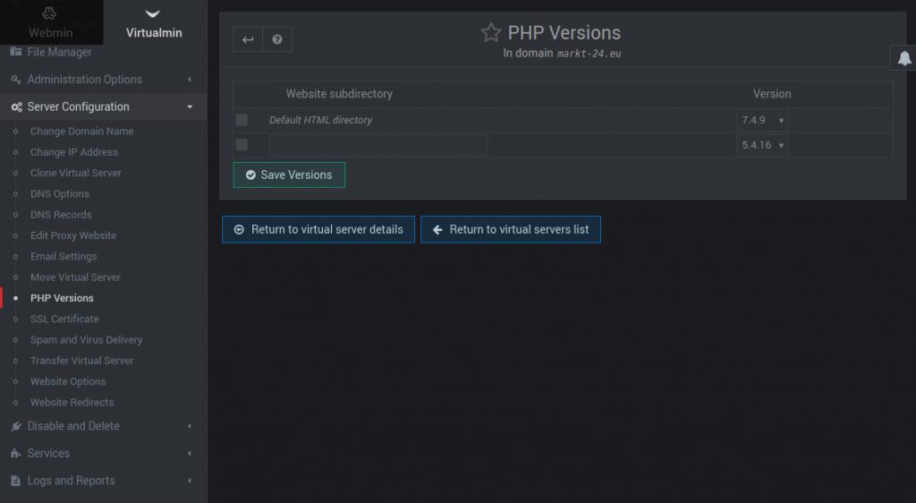 virtualmin server configuration