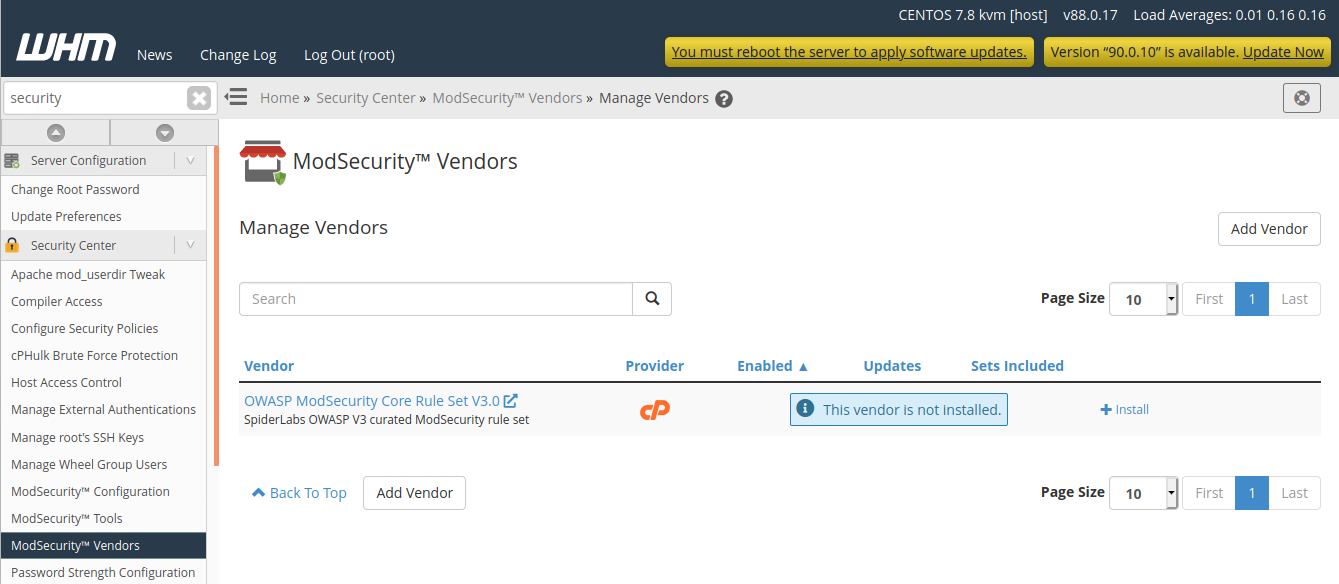cpanel modsecurity vendors