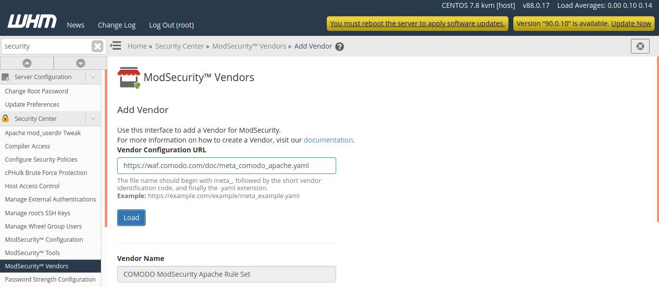 cpanel modesecurity add vendor