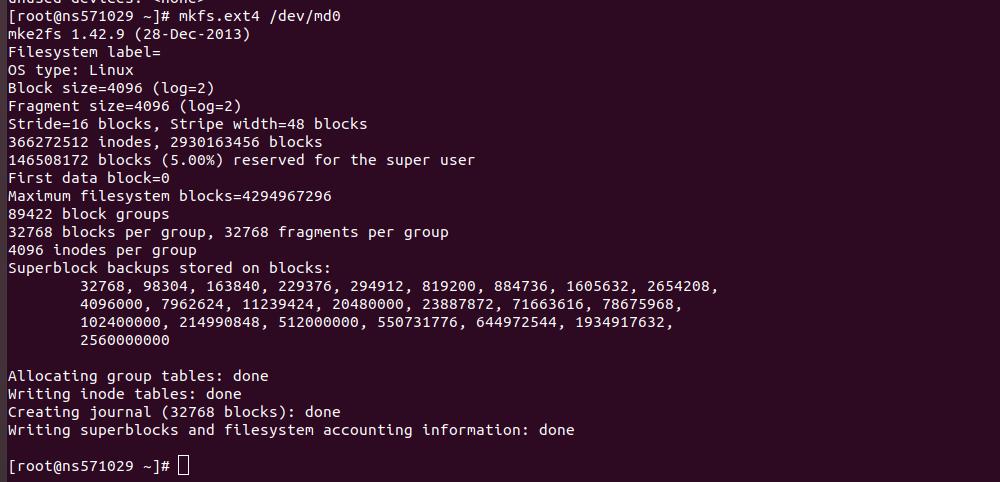 formatting raid 5 array