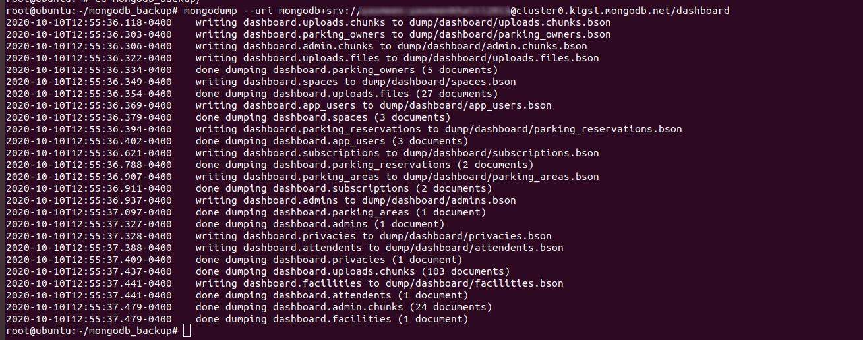 backup mongodb database using mongodump