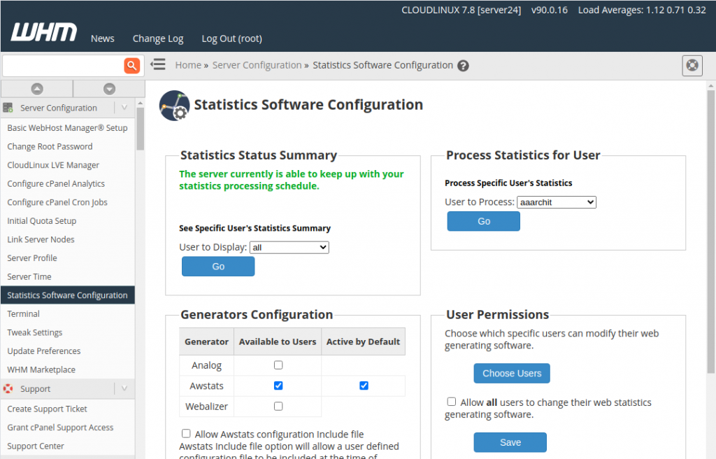 Cpanel Statistics Software Configuration