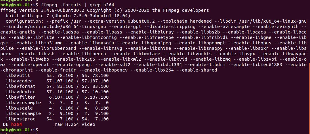ffmpeg h264 support