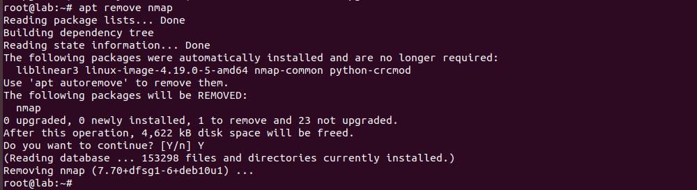 uninstall software on debian server
