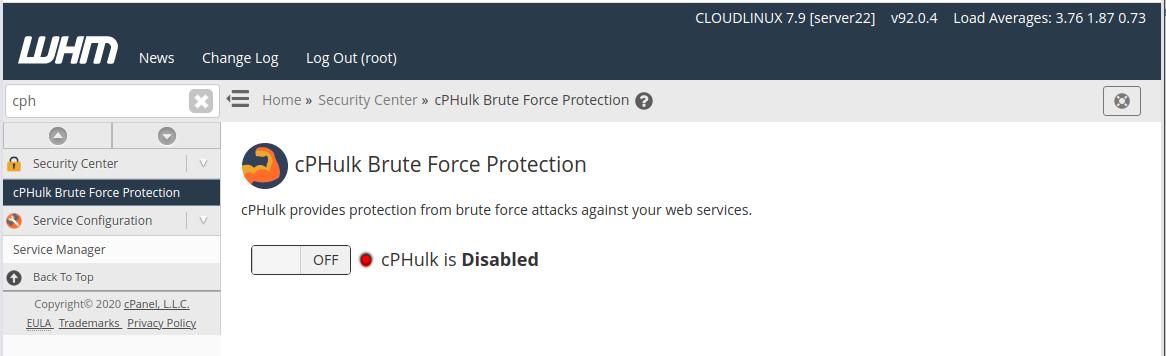 disable cPHulk