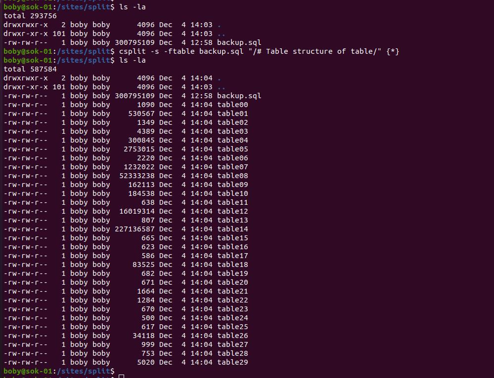 split mysqldump backup file