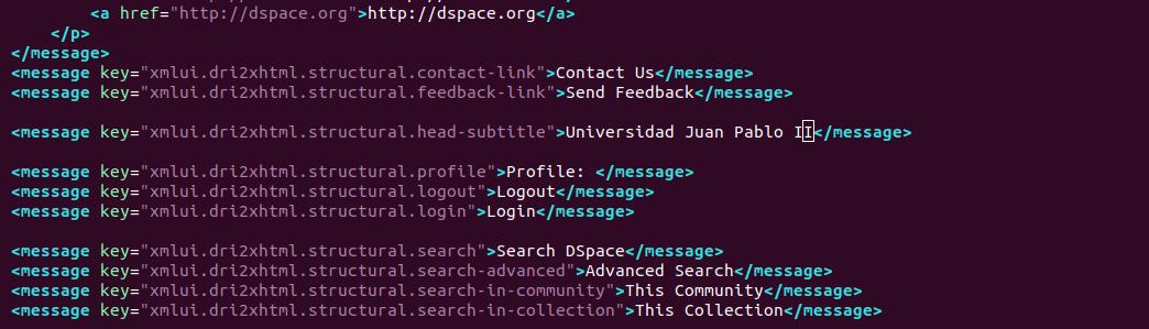 dspace xmlui change header text
