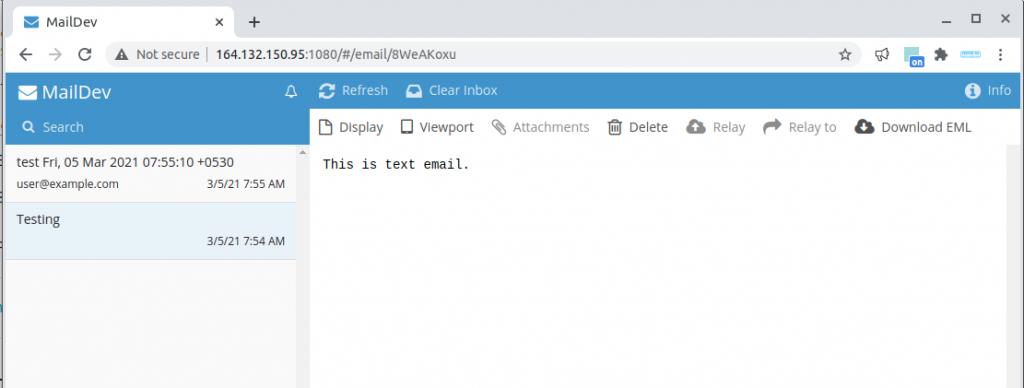 maildev fake smtp server