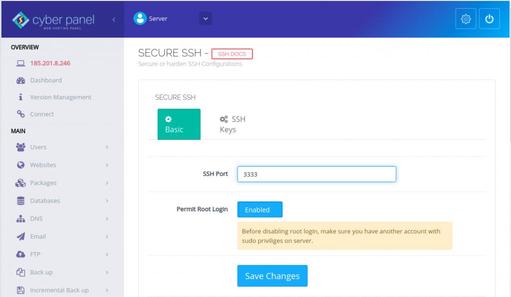 CyberPanel Change SSH port