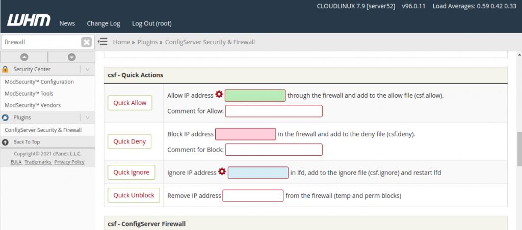whitelist IP in csf