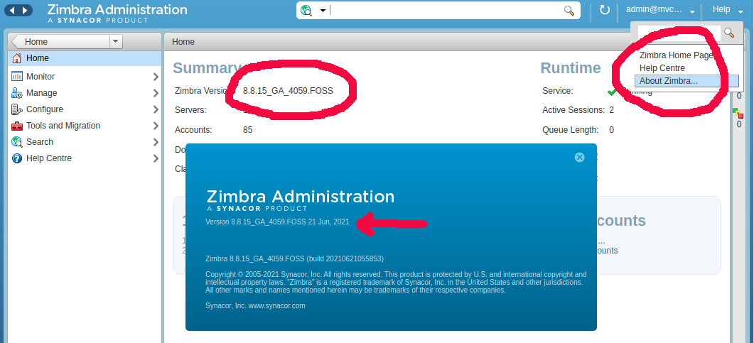 How to find Zimbra mail server version