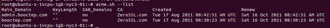 Acme.sh list SSL certificates