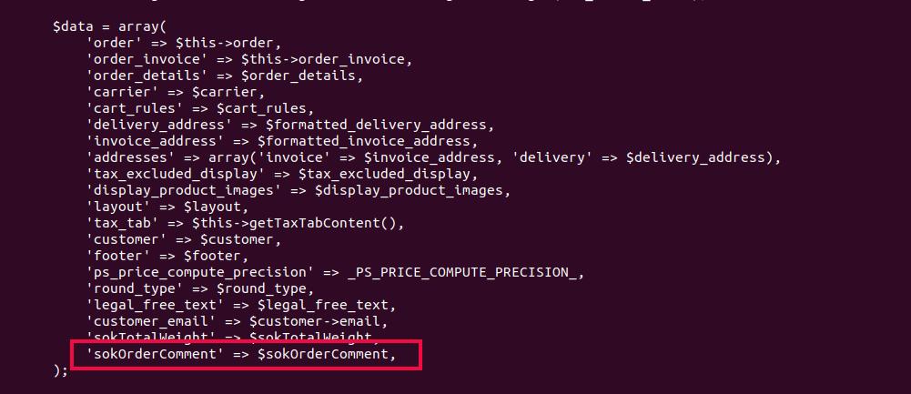 PrestaShop order comment in invoice