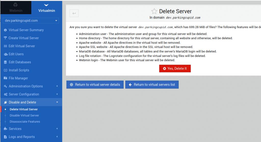 Delete website in virtualmin