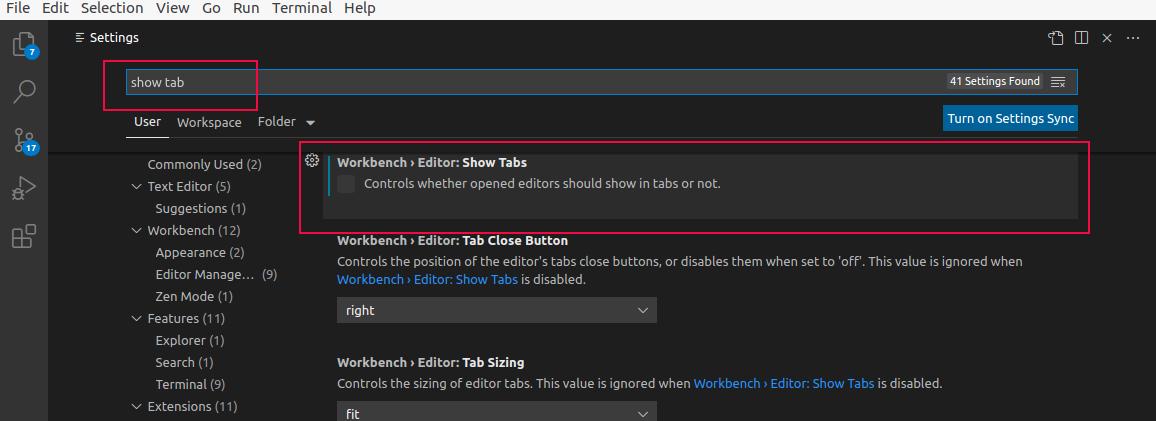 Visual Code Studio Show Tabs
