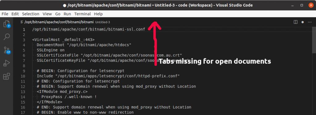 visual code studio tabs missing