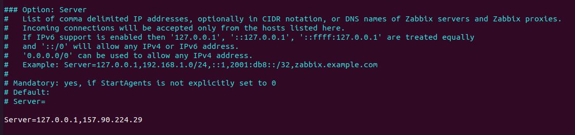 zabbix agent Server config